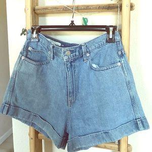 90's best Rachel Green  blue jean short